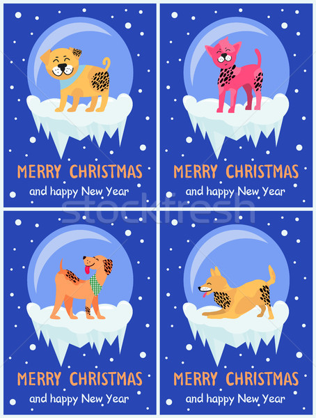 Merry Christmas and Happy New Year Dog Symbol Stock photo © robuart