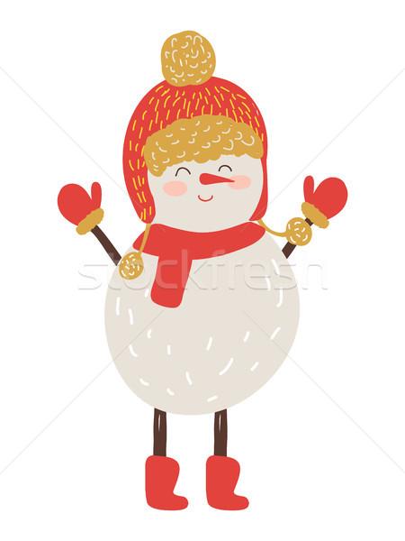 Snowman czerwony hat szalik odizolowany biały Zdjęcia stock © robuart