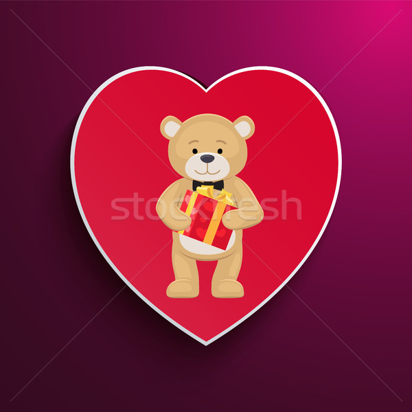 Stock photo: Teddy Toy with Black bow Holds Present Box in Paws