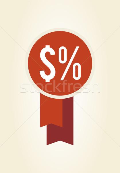 Rot Label Prozent Zeichen Band Stock foto © robuart