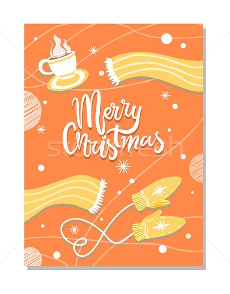 Stock fotó: Vidám · karácsony · tél · képeslap · meleg · ruha