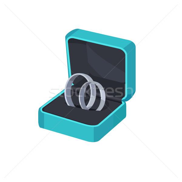 Dos platino compromiso anillos cuadro aislado Foto stock © robuart