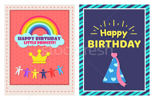 Boldog születésnapot kicsi hercegnő kettő ünnepi plakátok Stock fotó © robuart