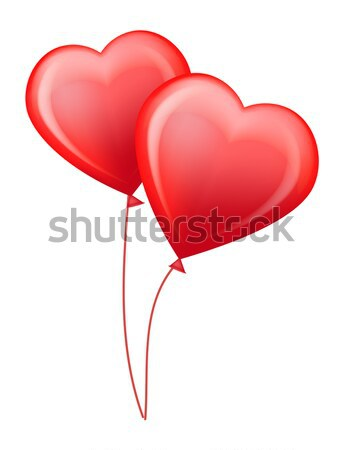 Red Glossy Helium Balloons in Shape of Hearts Stock photo © robuart