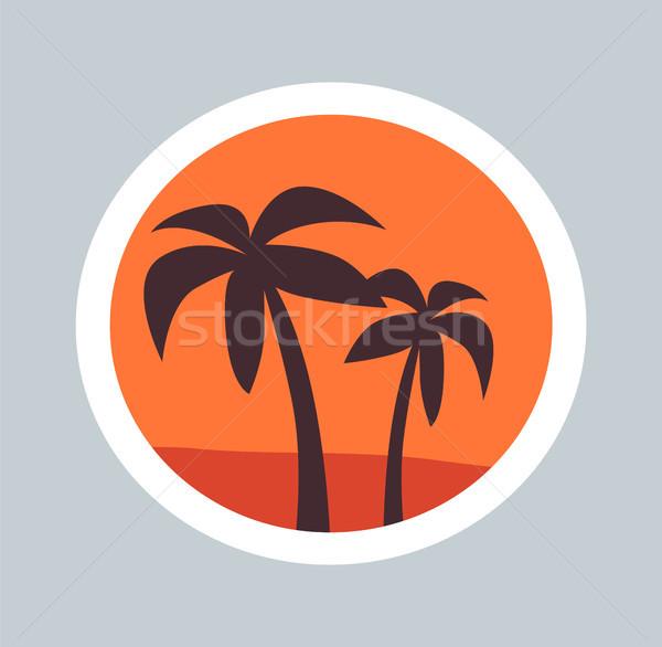 Esboço maravilha palms par árvores silhueta Foto stock © robuart