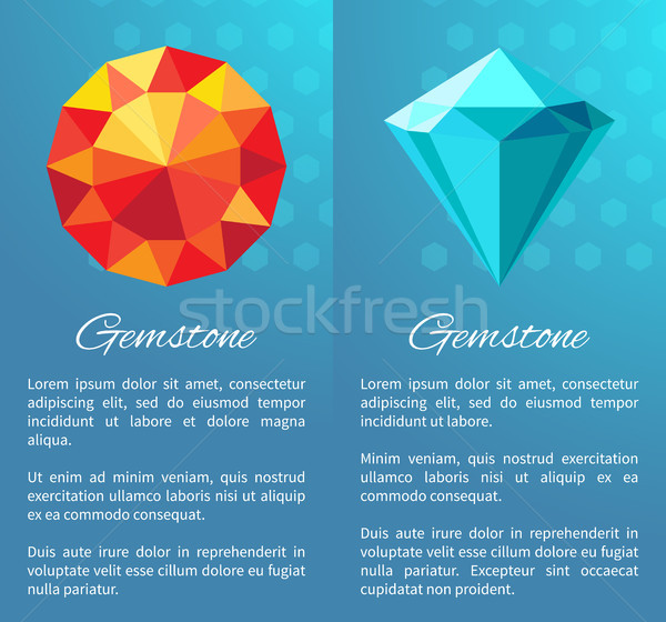 Gemstones Set with Text Sample Vector Illustration Stock photo © robuart