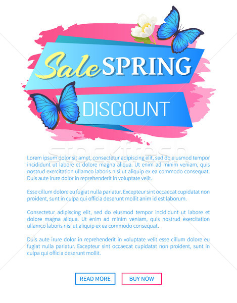 Spring Sale Web Poster Discount Colorful Butterfly Stock photo © robuart