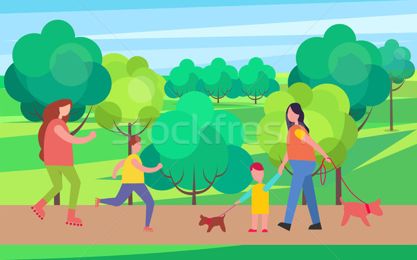 Rollerblading and Dog Walking Vector Illustration Stock photo © robuart