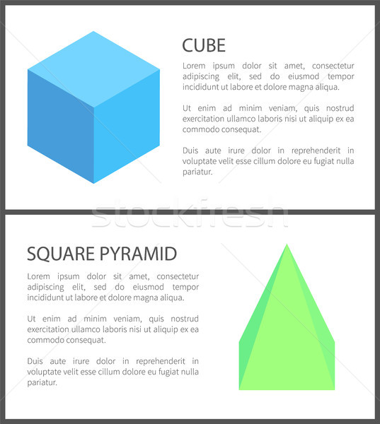 Cube and Square Pyramid Figures Isolated on White Stock photo © robuart