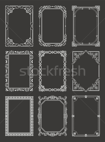 Retro Style Vintage Frames Set Ornamental Graphic Stock photo © robuart