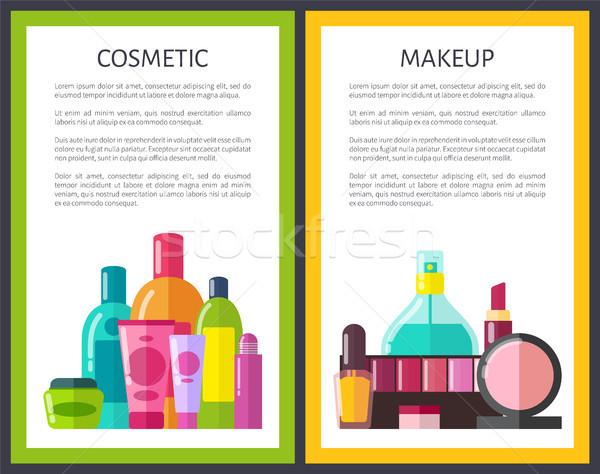 Stok fotoğraf: Makyaj · kozmetik · renk · parfüm · ruj · toz