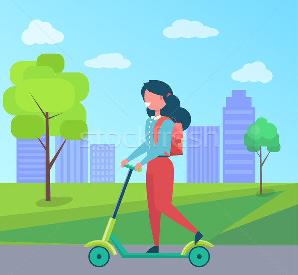 Girl with Rucksack Riding on Kick Scooter Vector Stock photo © robuart