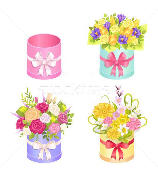 Zdjęcia stock: Zestaw · piękna · dekoracyjny · elementy · owalny · kolorowy