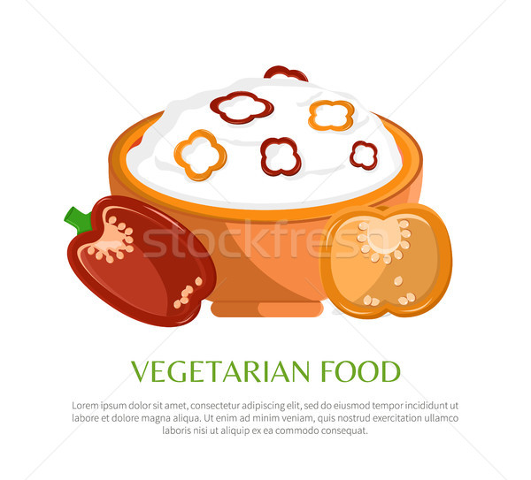 Vegetarian Food Vector Illustration, Color Banner Stock photo © robuart