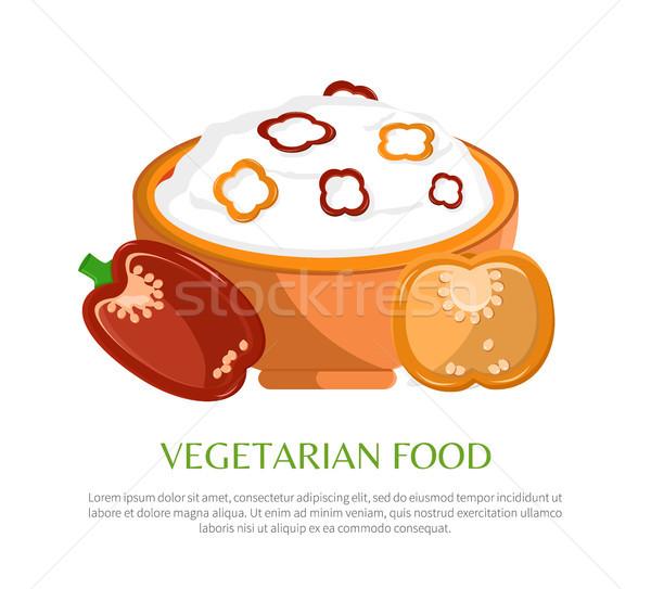 Vegetáriánus étel szín szalag bors darabok izolált Stock fotó © robuart