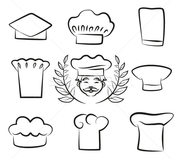 Set of Chef Hats with Cook Man in White Headwear Stock photo © robuart