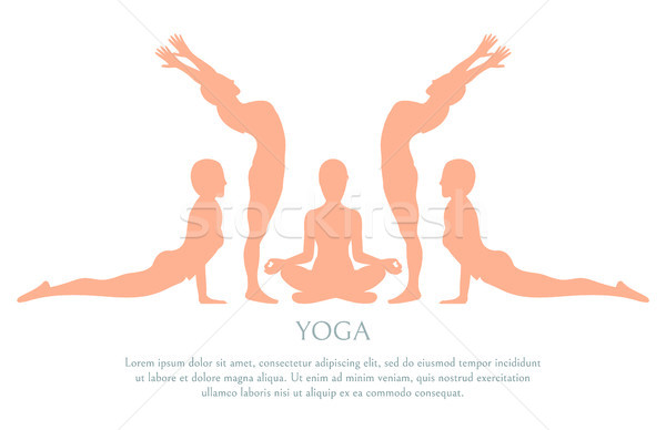 Yoga Silhouette Poster Text Vector Illustration Stock photo © robuart