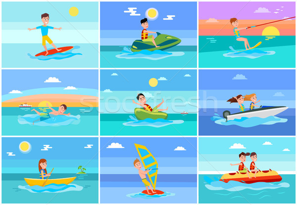 Surfing Summer Collection Vector Illustration Stock photo © robuart