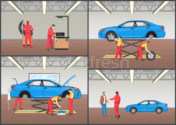 Vehicle Repair Service Color Vector Illustration Stock photo © robuart