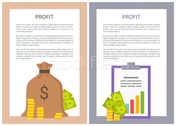 Profit Info Vertical Posters with Money and Coins Stock photo © robuart