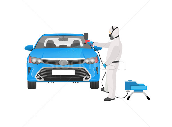 Man in Costume Painting Car Vector Illustration Stock photo © robuart