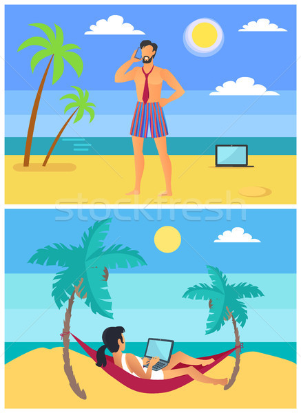 Freelancers Man and Woman on Tropical Beach Vector Stock photo © robuart