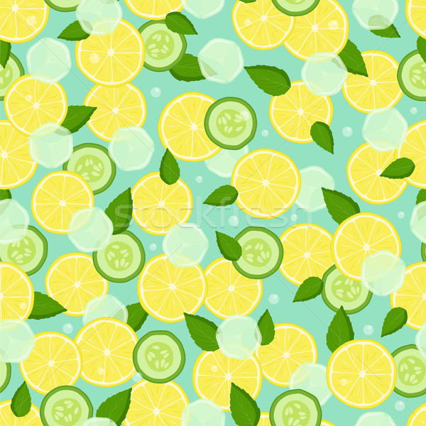 Endless Texture with Pieces Lemon, Slices Cucumber Stock photo © robuart