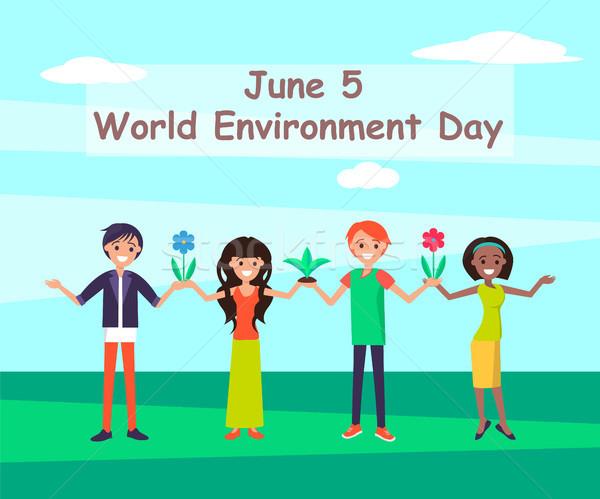 świat środowiskowy dzień miejsce 5 osób Zdjęcia stock © robuart