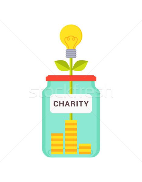 Photo stock: œuvre · de · bienfaisance · résumé · boîte · coloré · jaune · ampoule