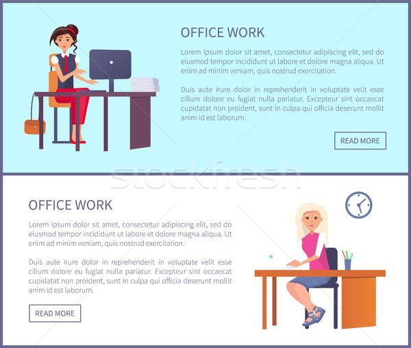 Ofis işleri sayfa güzel kadın işyeri yazarak Stok fotoğraf © robuart