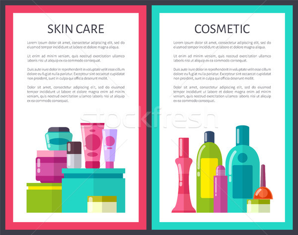 Set of Skin Care and Cosmtic Color Framed Posters Stock photo © robuart