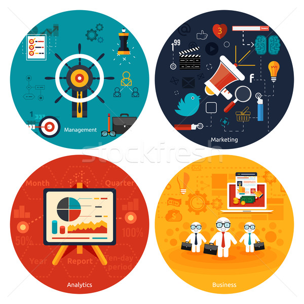 Icônes marketing gestion analytics affaires outils Photo stock © robuart