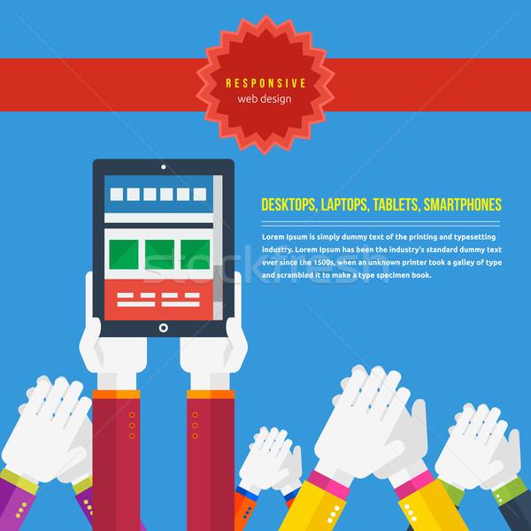 Reszponzív web design ötlet háló mobil applikációk Stock fotó © robuart