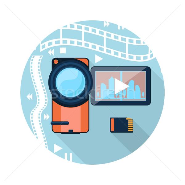 Videókamera mozi szalag emlék kártya rajz Stock fotó © robuart