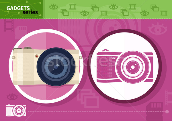 Digital camera in frame on lilac background Stock photo © robuart