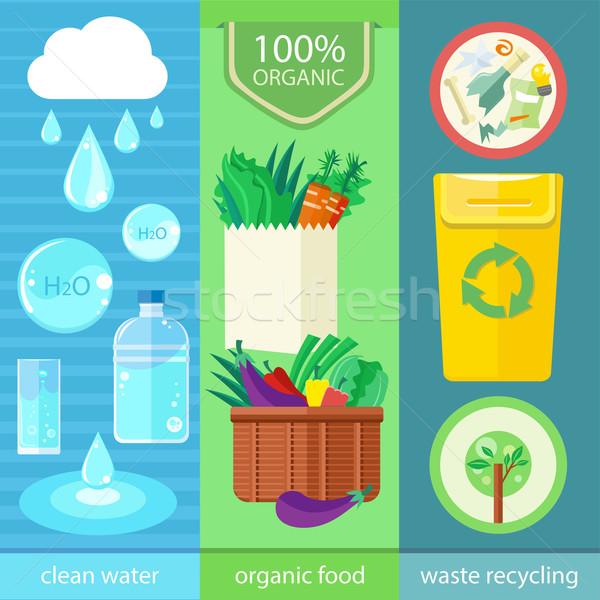 Szett természet organikus bannerek tiszta víz bioélelmiszer Stock fotó © robuart