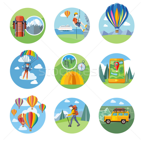 Hike, Expedition, Tourism, Parachuting, Ballooning Stock photo © robuart