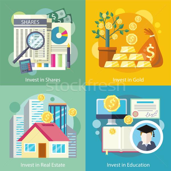 Beruházás oktatás arany tulajdon pénzügy üzlet Stock fotó © robuart