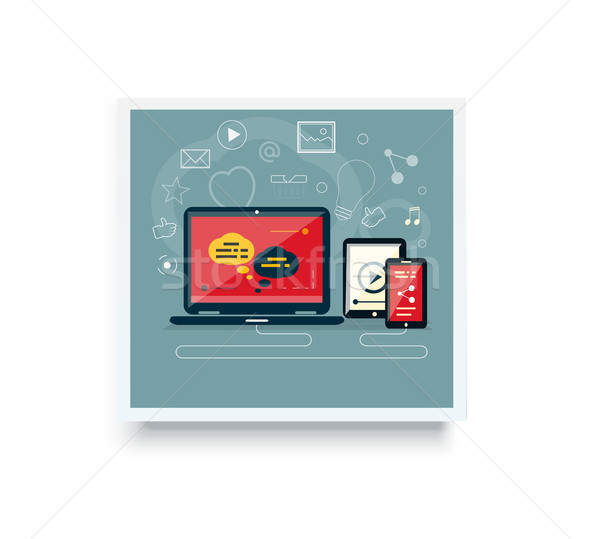 Analytics and programming vector. Web application optimization. Responsive pc. Cloud technology Stock photo © robuart