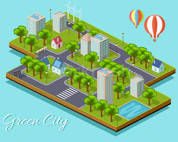 Isometric Isolated Green City Concept Stock photo © robuart
