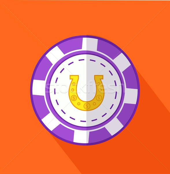 Puce Horseshoe design jeu vecteur argent Photo stock © robuart
