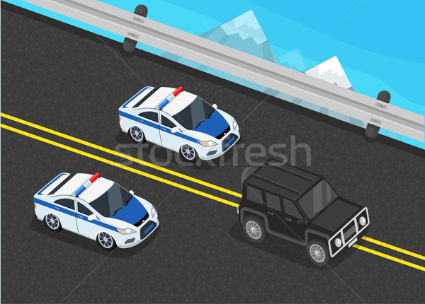 Police Motorcade Car Flat Design  Stock photo © robuart