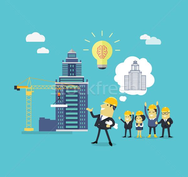 Umsetzung Ideen Architekt erfolgreich Helm Blaupausen Stock foto © robuart