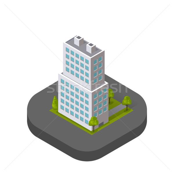 Felhőkarcolók ház épület ikon felhőkarcoló logo Stock fotó © robuart