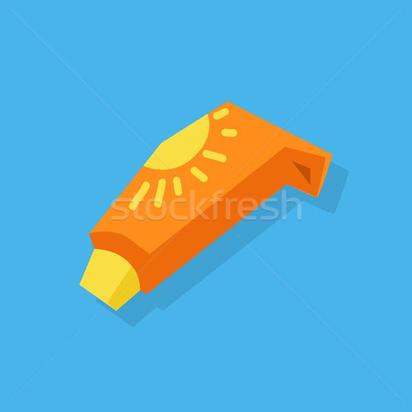 Protezione solare care cosmetici contenitore arancione Foto d'archivio © robuart
