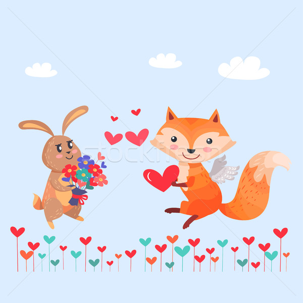 Bunny with Bouquet of Flowers and Fox with Wings Stock photo © robuart