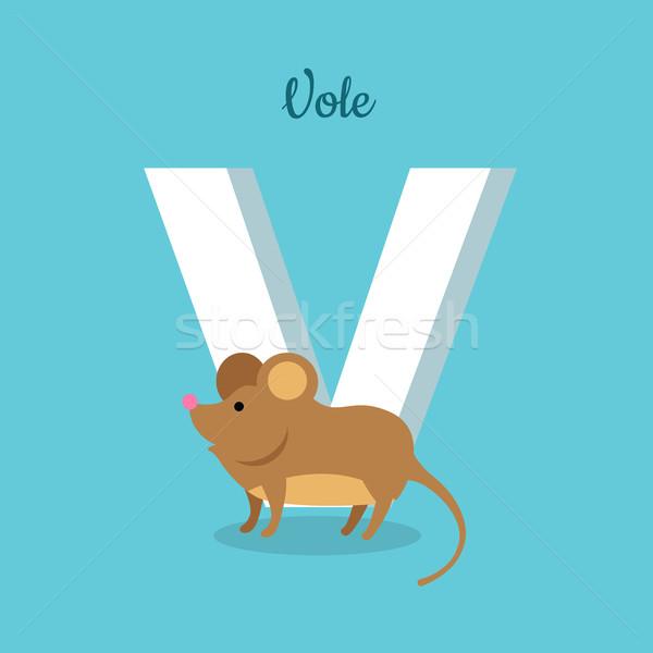 Dier alfabet ontwerp vector stijl dierentuin Stockfoto © robuart