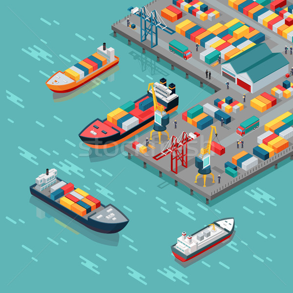 Cargo Port Vector Concept in Isometric Projection Stock photo © robuart
