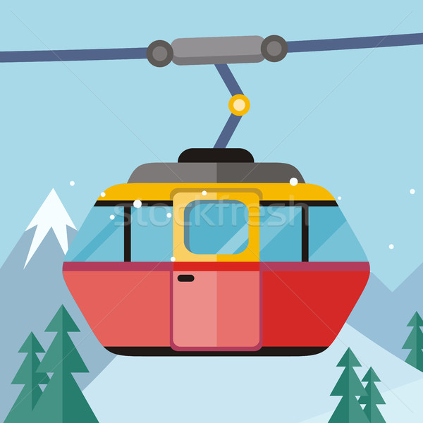 Cable Car Vector Illustration in Flat Design Stock photo © robuart