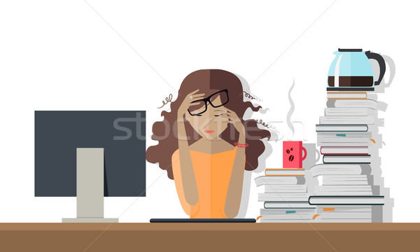Woman Tired at Work. Deadline. A Lot of Work to Do. Stock photo © robuart